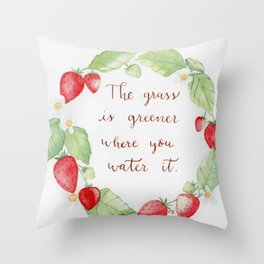 Strawberry Watercolor wreath with a positive hand lettered quote Throw Pillow