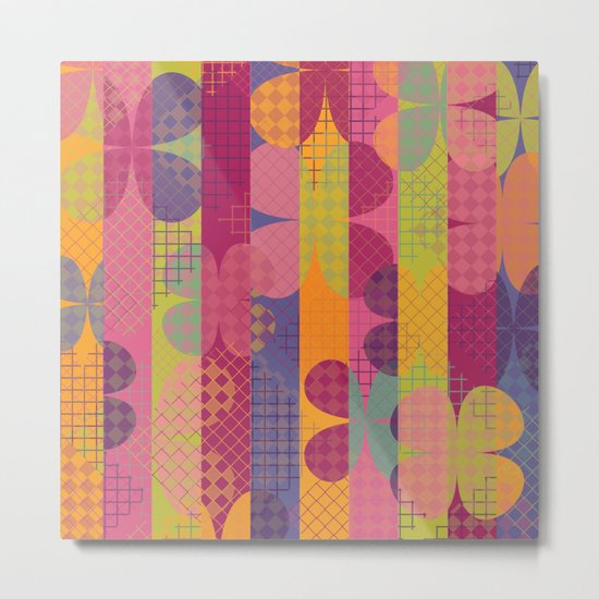 Abstract Colorful Floral Pattern Metal Print