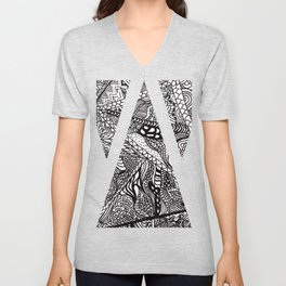 Black white Abstract Paisley doodle geometric pattern Unisex V-Neck