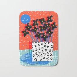 Ay Oh - abstract minimal still life florals patterns memphis throwback retro grid pattern Bath Mat