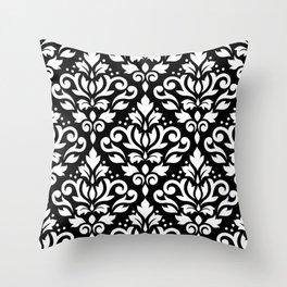 Scroll Damask Big Pattern White on Black Throw Pillow