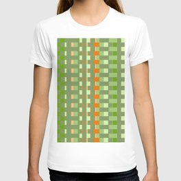 orange green checkered pattern T-shirt