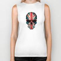 british flag Biker Tanks featuring British Flag Skull on Black by Jeff Bartels