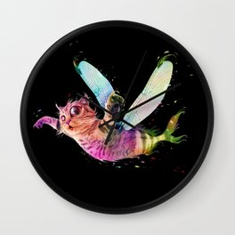 Psychedelic colorful flying catfish Wall Clock
