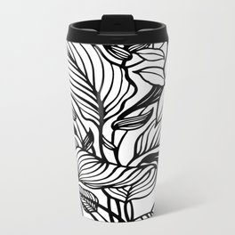White Black Floral Minimalist Metal Travel Mug