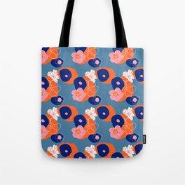 Hibiscus Trionium Wood Block Pattern Tote Bag