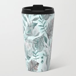 Watercolor Leaf And Succulent Pattern Travel Mug