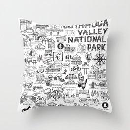 Cuyahoga Valley National Park Map Throw Pillow