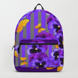 DECORATIVE GOLDEN YELLOW BUTTERFLIES PURPLE PANSY PILLOW ART Backpack