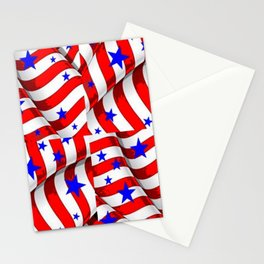 RED PATRIOTIC JULY 4TH BLUE STARS ART Stationery Cards