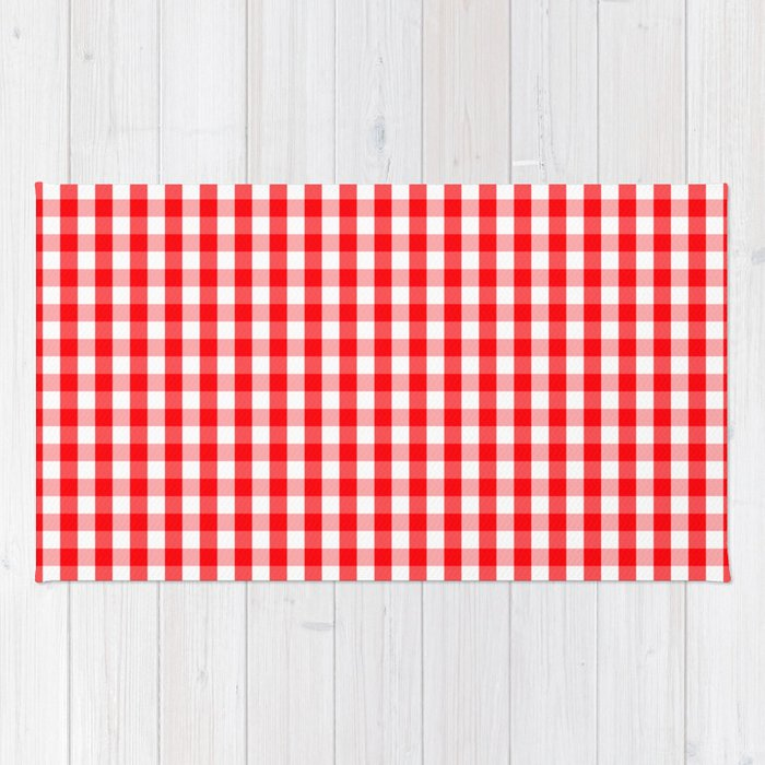 Large Christmas Red And White Gingham Check Plaid Rug