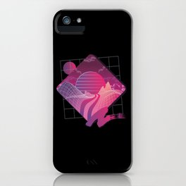 Retrowave Landscape -  Eighties Style Outrun iPhone Case
