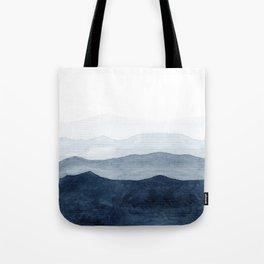 Indigo Abstract Watercolor Mountains Tote Bag
