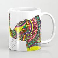 allison argent Mugs featuring Allison Elephant by Laura Maxwell