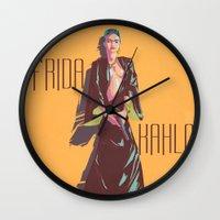 frida kahlo Wall Clocks featuring Frida Kahlo by antoniopiedade