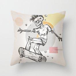 skeleton skater Throw Pillow