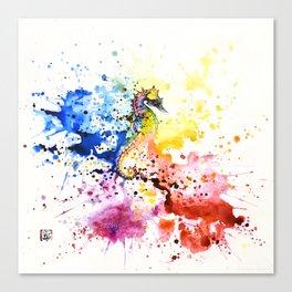 Underwater rainbow : the seahorse Canvas Print