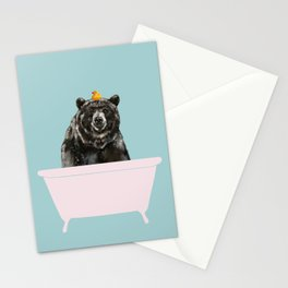 Big Bear in Bathtub Stationery Cards