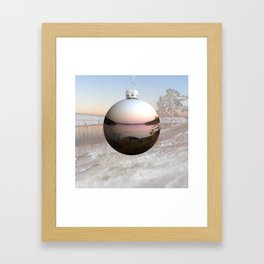 Holiday bauble with summer vs. winter nature scene Framed Art Print