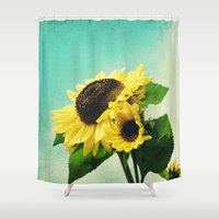 sunflowers Shower Curtains featuring sunflowers by Sylvia Cook Photography