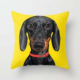 Dachshund Art Poster Dog Icon Series by Artist A.Ramos. Designed in Bold Colors Throw Pillow