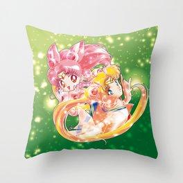Super Sailor Moon & Chibi Moon (edit 2/B) Throw Pillow