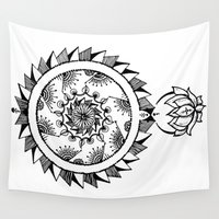 henna Wall Tapestries featuring Henna Doodle Thing 2 by Emilee's Fine Art