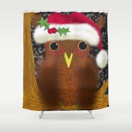 The Christmas Eve Owl Shower Curtain