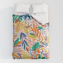 Colorful Tropical Sunshine Exotic Floral & Leaf Pattern Comforters
