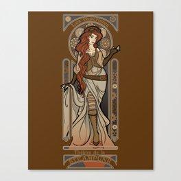Steampunk Nouveau 2- Brown Canvas Print