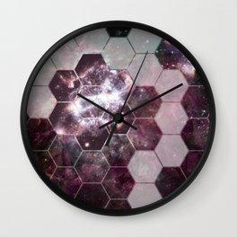 honeycomb galaxy // pink & silver Wall Clock