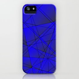 Geometric web of blue lines with cross triangular highlights. iPhone Case