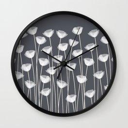 White Poppies Wall Clock
