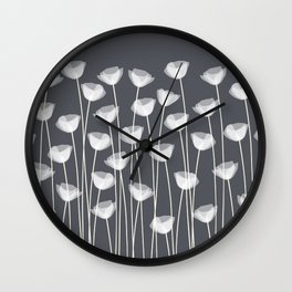 White Poppies Wall Clock