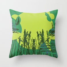 Grassy Sunset. Throw Pillow