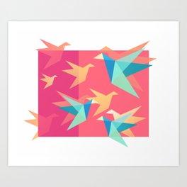 Vivid Pink Paper Cranes Art Print