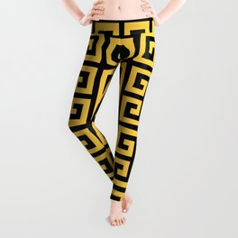 Greek Key (Black & Light Orange Pattern) Leggings