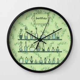Bottles on shelves Wall Clock