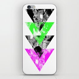 Descent - Geometric Abstract In Black, Green And Pink iPhone Skin