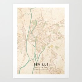 Seville, Spain - Vintage Map Kunstdrucke