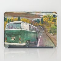 vw bus iPad Cases featuring VW Bus on Mountain Road by Barb Laskey Studio