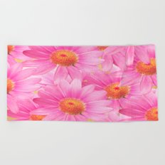 Bunch of pink daisy flowers - a fresh summer feel in pink color Beach Towel