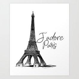 TYPOGRAPHIC ART - J'adore Paris, Paris, Typography Wall Art, Printable Art Art Print