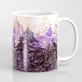 NORTHWEST VIBES Colorful Watercolor Painting Forest Trees Violet Green Modern Nature Art West Coast  Coffee Mug