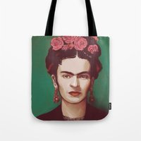 frida Tote Bags featuring Frida by ravynka