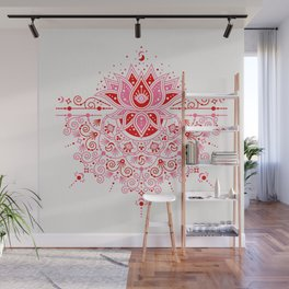 Lotus Blossom Mandala – Red & Pink Palette Wall Mural