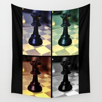 chess Wall Tapestries featuring Game: Chess by Shaunia McKenzie