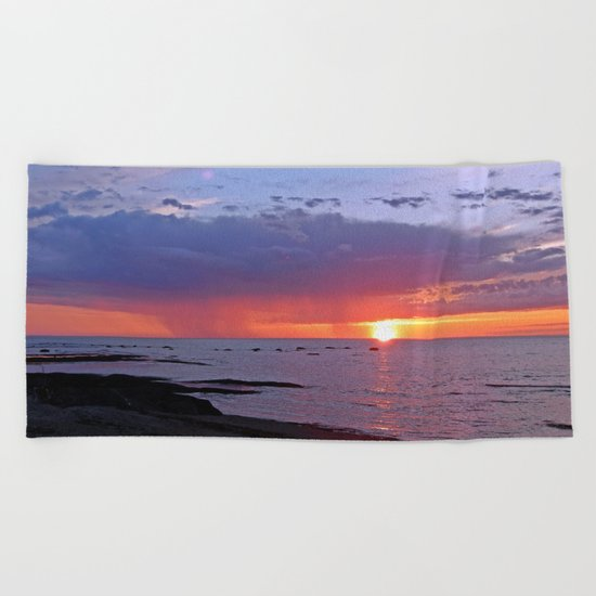 Sun and Rain on the Sea Beach Towel