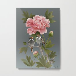 Sparrows and Peony Metal Print