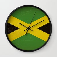 jamaica Wall Clocks featuring Vintage flag of Jamaica by TilenHrovatic